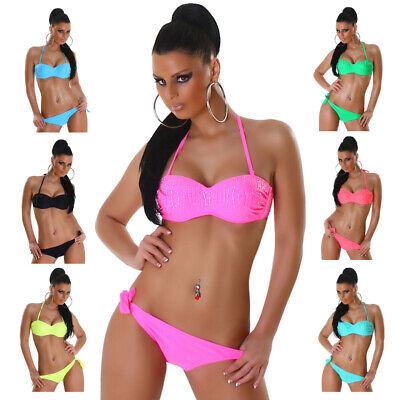 Neckholder-Bandeau-Bikini Beachwear Sommer Strand Sexy Strasssteine Größe Neu