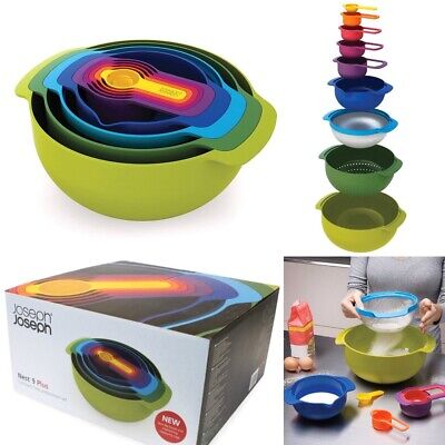 JOSEPH JOSEPH Nest 9 Piece Nesting Bowl Measuring Set Multi-Colour - New & Boxed