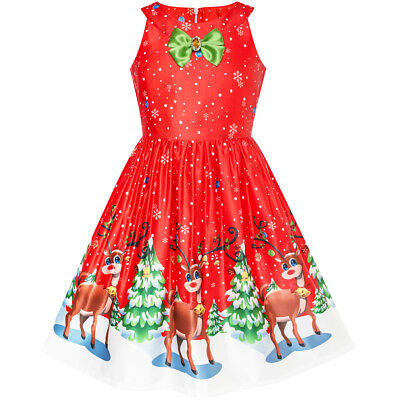Red Dresses For Girl (US STOCK! Girls Dress Red Christmas Reindeer Snow Xmas Tree Party Size)