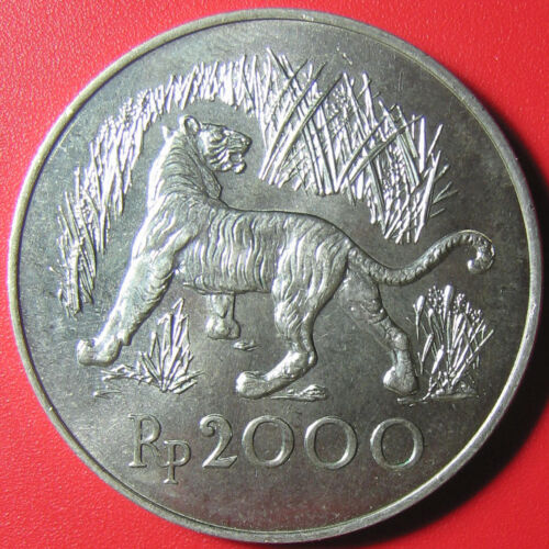 1974 INDONESIA 2000 RUPIAH SILVER JAVAN TIGER WILDLIFE CAT CONSERVATION RARE!