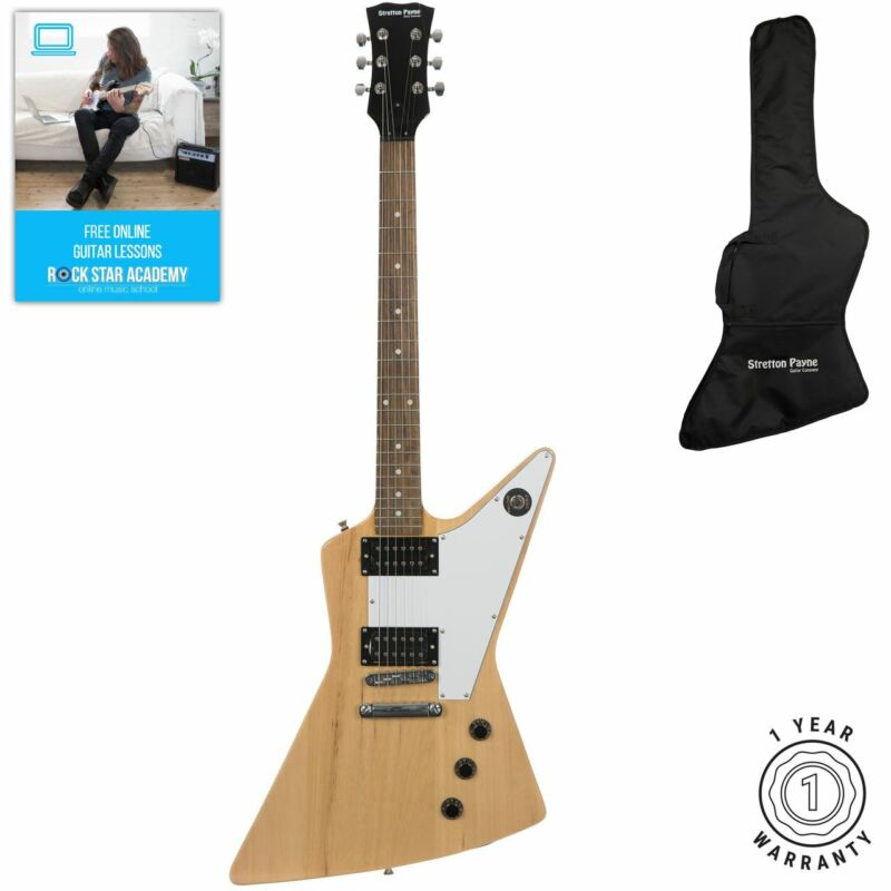 Stretton Payne X Shape Electric Guitar with Padded Bag. Guitar in Natural Wood