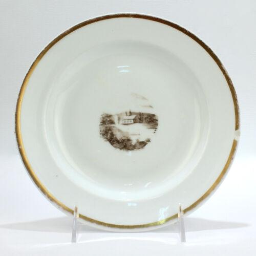 Large Antique Tucker & Hemphill Porcelain en Grisaille Plate - Philadelphia PC