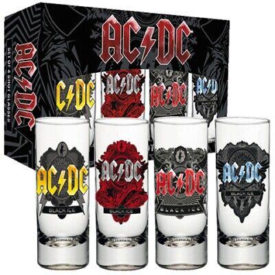 AC/DC 4er Set - Shotgläser - Schnapsgläser - Black Ice - Hard Rock - Angus NEU online kaufen