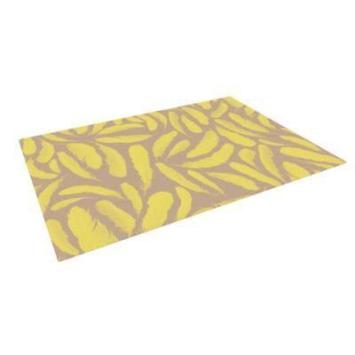 "Kess InHouse Skye Zambrana ""Yellow Feather"" Tan Gold Indoor/Outdoor Floor Mat"