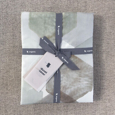 West Elm 400 Thread Count Organic Geo Sateen King Duvet Cover only Organic 400 Thread