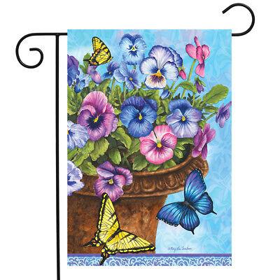 Pansies Spring Garden Flag Butterflies Basket Floral 12.5