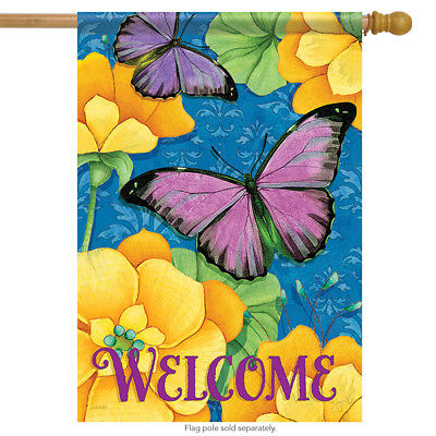 Purple & Gold Spring Welcome House Flag Floral Double Sided Butterfly 28