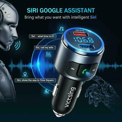 VicTsing Wireless Bluetooth 5.0 FM Transmitter QC3.0 Radio AUX Adapter Car Kits