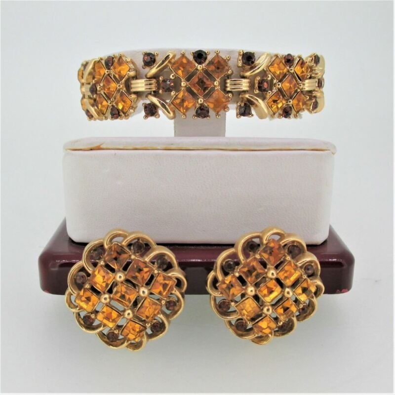 Trifari Crown Gold Tone Brown and Yellow Rhinestone Bracelet and Clip on Earring