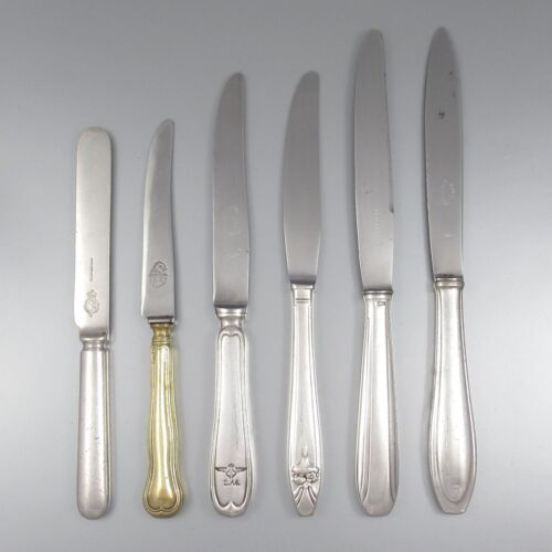 Assortment of Six Antique / Vintage French British Belgian Silver Plate Knives