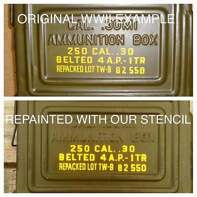 3 Restoration Paint Stencil   Decal  30 Cal Ammo Can Ammunition Box Ww2 Wwii