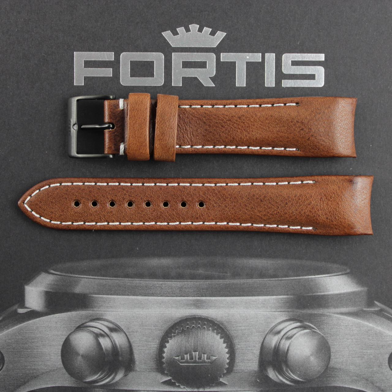 Fortis B-42/ F-43 Integriertes braunes Lederband mit weisser Kontrastnaht. PVD