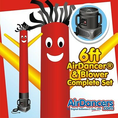 Red And Yellow Air Dancers Inflatable Tube Man 14 Hp Sky Dancer Blower 6ft
