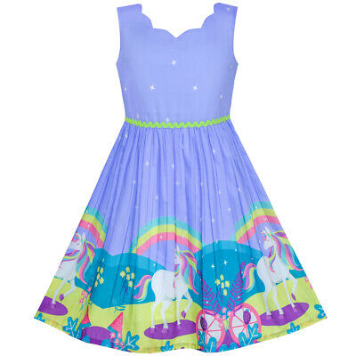 US STOCK! Flower Girl Dress Unicorn Rainbow Holiday Princess Size 4-12 -