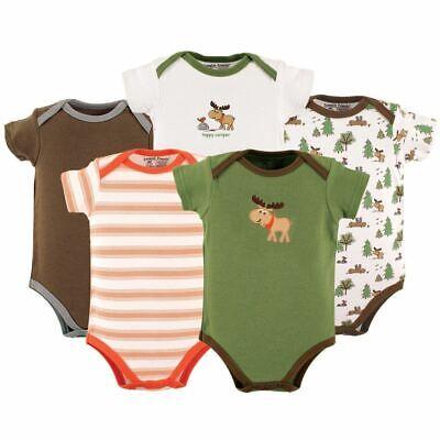 Luvable Friends Boy Bodysuits, 5-Pack, Green Moose