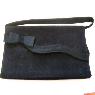 1940s Handbags and Purses History Vintage Black Suede Ladies Handbag Evening Bag 1940s 1950s Immaculate  $54.19 AT vintagedancer.com