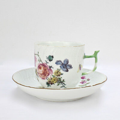 Antique 18TH C Meissen Porcelain Cup & Saucer Flowers Insects & Twig Handle - PC