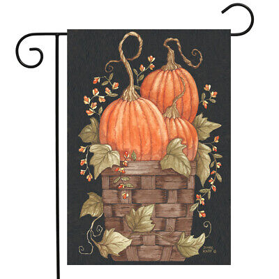 "Pumpkin Trio Autumn Garden Flag Primitive Fall Basket 12.5"""