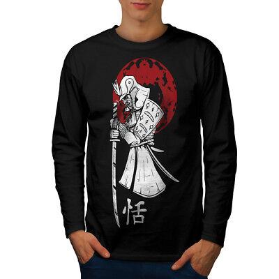 Japanese Warrior Designs (Wellcoda Japanese Sun Warrior Mens Long Sleeve T-shirt, Asian Graphic)