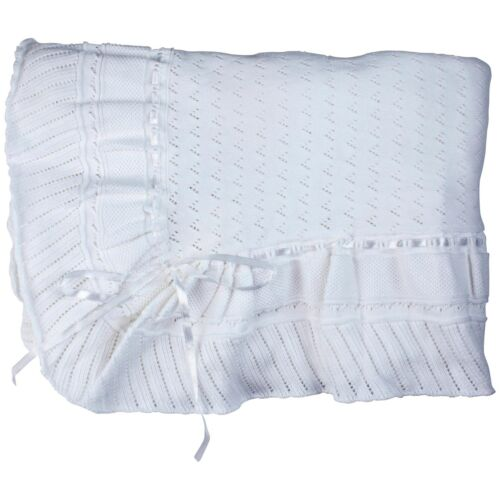 """Feltman Brothers Unisex White Knit Baby Blanket 48"""" X 48"""" Square Baby Gift NWT"""
