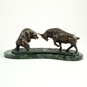 Large Wall Street - Charging Bull & Bear Bronze Statue ... Wall Street Bear Statue