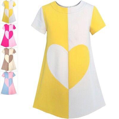 Kontrast Herz (Mädchen Kleid Farbe Kontrast Herz A-Linie Trägerkleid Gr. 104-146)
