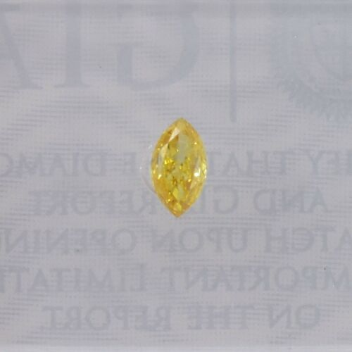 0.15Cts Fancy Vivid Orangy Yellow Loose Diamond Natural Color Marquise Shape GIA