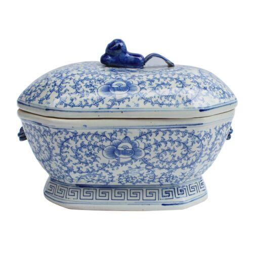 Blue and White Twisted Lotus Porcelain Rectangular Tureen