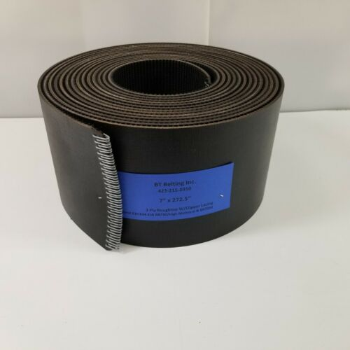 """7"""" x 272.5"""" New Holland Round Baler Belts 3 Ply Roughtop w/ Clipper Lacing"""