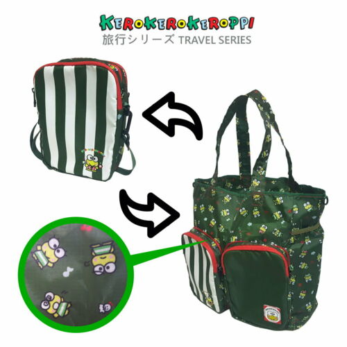 Sanrio Kerokerokeroppi Exclusive Travel Accessories Foldable Crossbody Tote Bag
