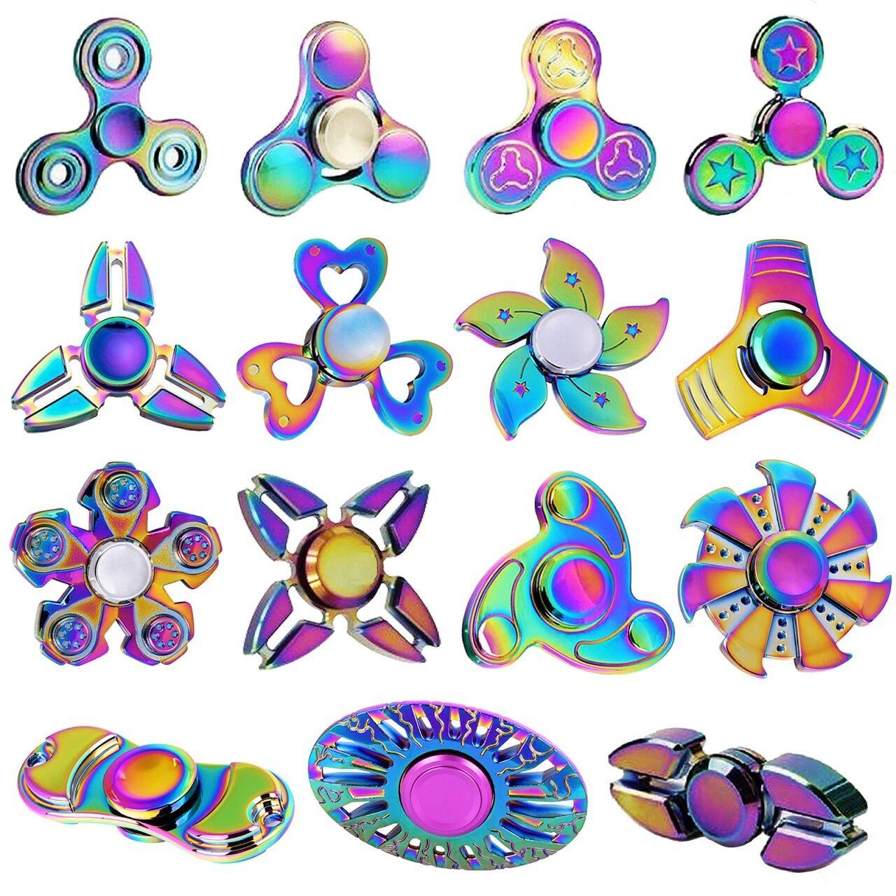 On Sale! Rainbow Tri Fidget Hand Spinner Finger Gyro Metal T