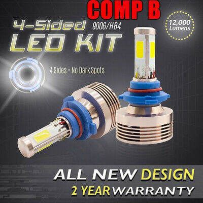 120W 12000LM LED 360 4-Sided Conversion Kit 6000K Headlight Bulbs - 9006 HB4 (B) for sale  Shipping to Canada