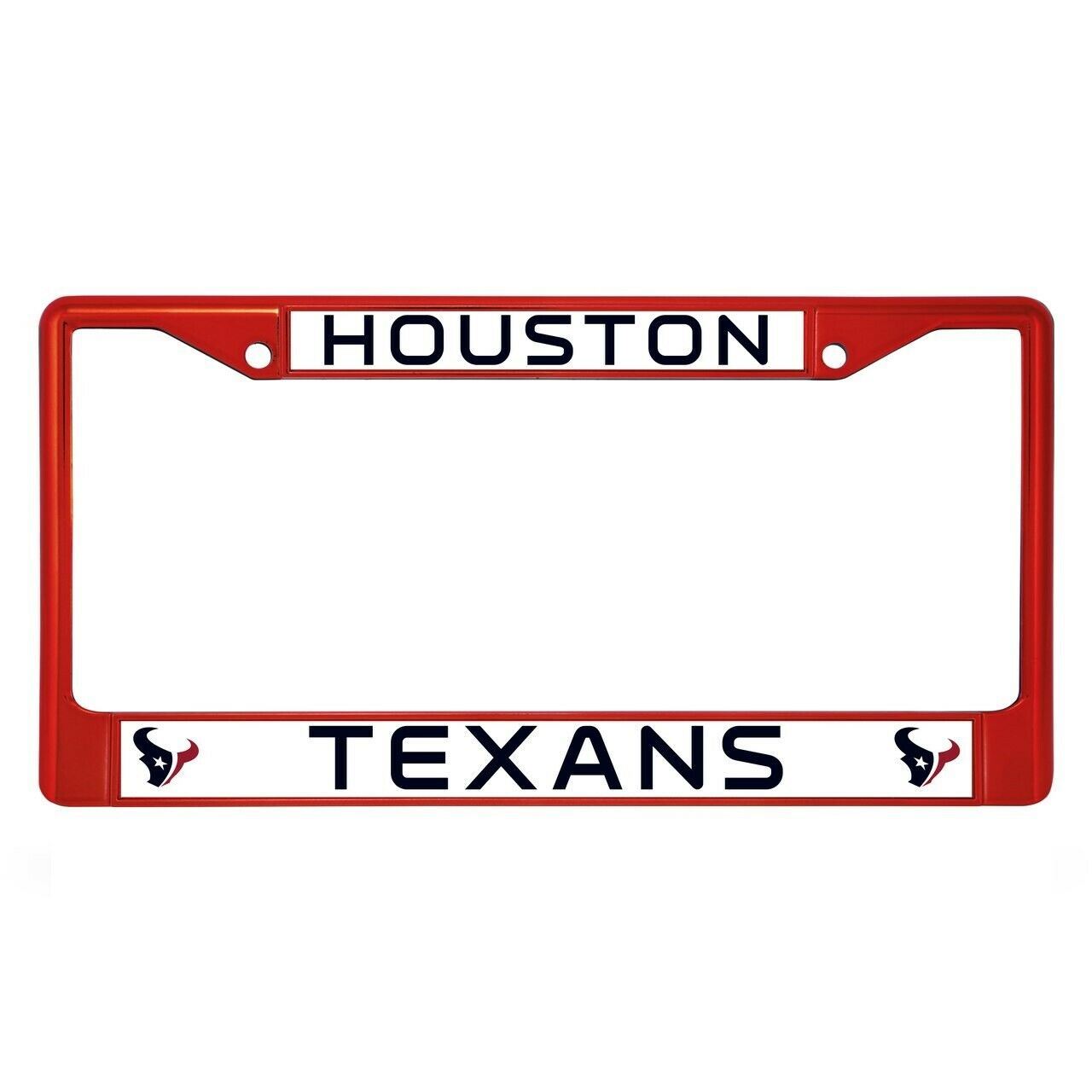 Houston Texans Red Colored Chrome Metal License Plate Frame