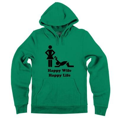Mens Happy Wife Happy Life CC Hoodie Husband Marriage Relationship Money Happiness Mens Hoodie