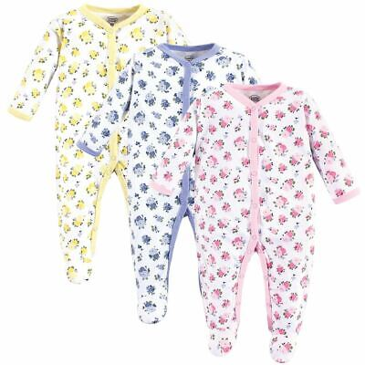 Luvable Friends Girl Cotton Sleep and Play, 3 Pack, Floral