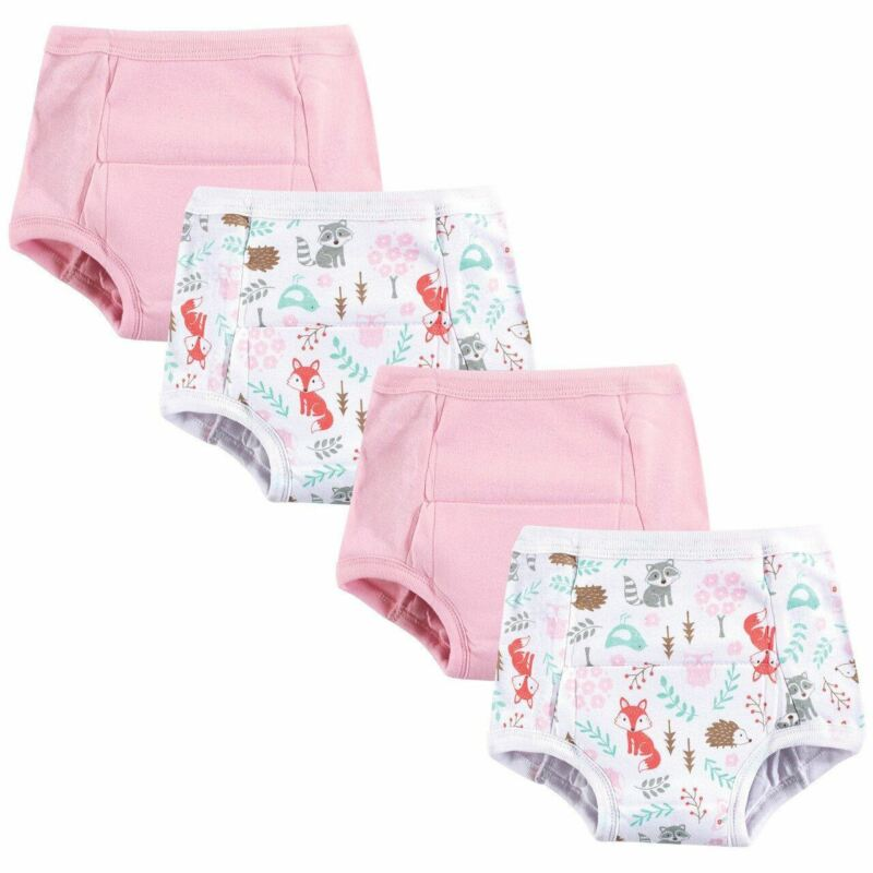 Hudson Baby Girl Cotton Training Pants, 4-Pack, Woodland Fox