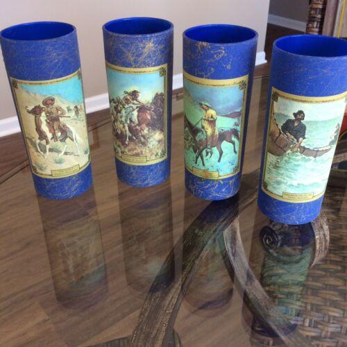 Jim Beam BLUE Frederic Remington Glasses Set of 4