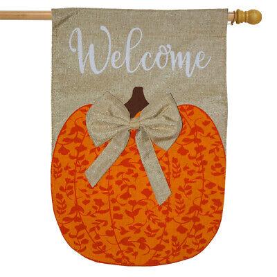 "Autumn Pumpkin Burlap House Flag Welcome 28"" x 40"" Briarwood"
