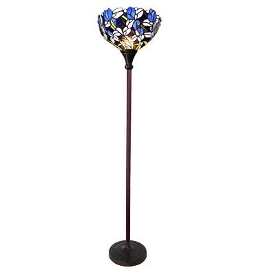 Tiffany-style Stained Glass Iris Torchiere Floor Lamp Shade Bronze Finish Base Base 1 Bronze Floor Lamp