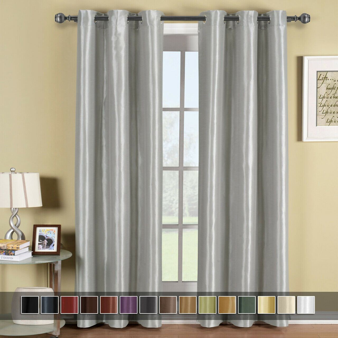 Soho Top Grommet Thermal Blackout Window Curtain Panels Soli