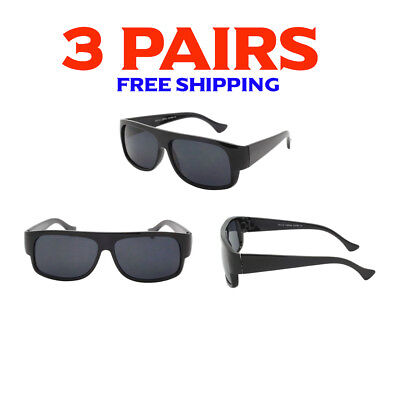 3 Pack Bulk Lot Wholesale Gangster Sunglasses EAZY E Super Dark Old School Locs  (Bulk Plastic Sunglasses)