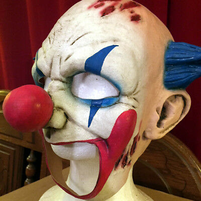 Morris Costumes Halloween Horror Clown Latex Mask With Blue Hair. TB27501