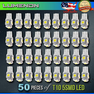 T10 194 Led Wedge 5 Smd 50 Pcs 6K White 5050 Light Bulbs W5w 2825 158 192 168