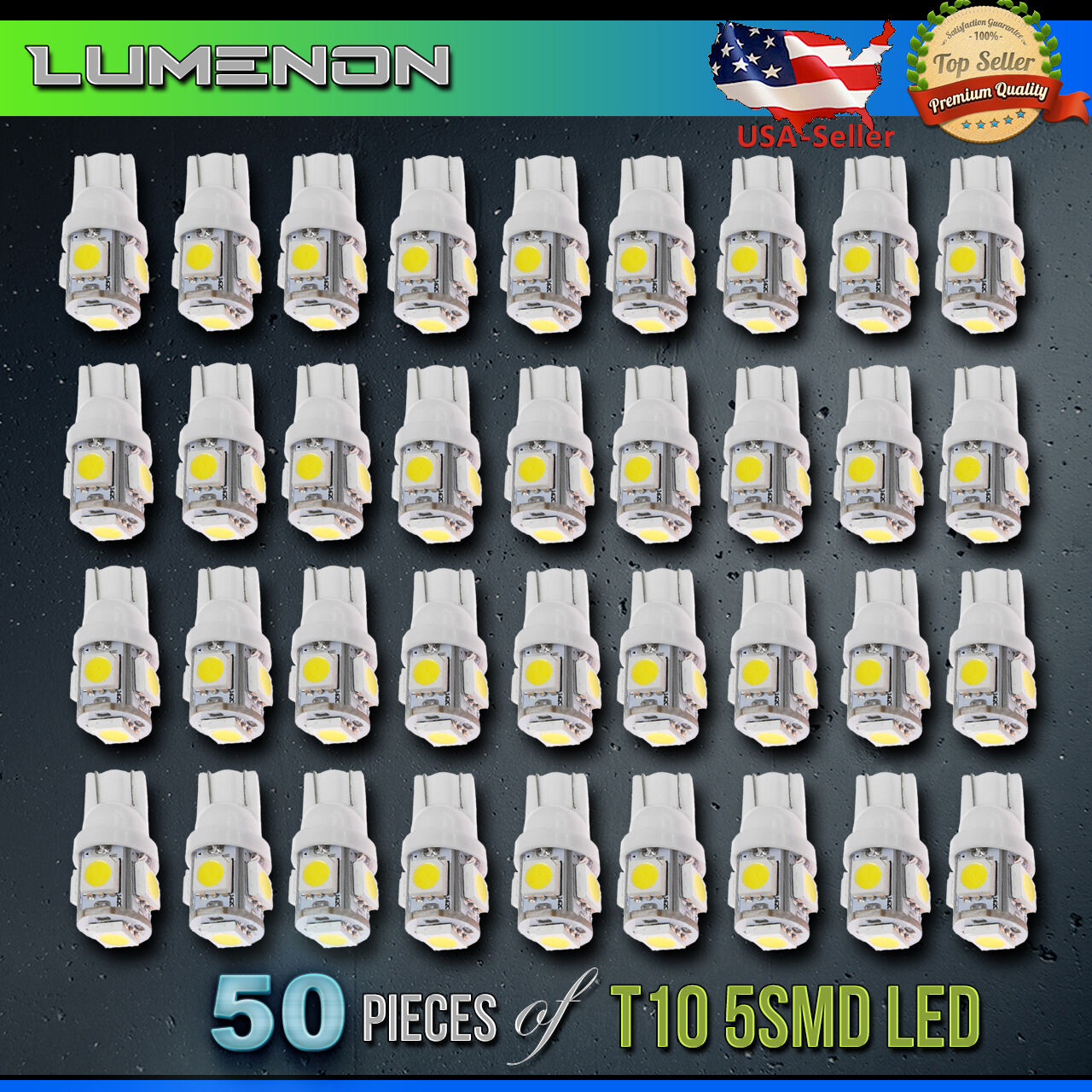 Led - T10 194 LED Wedge 5-SMD 50 Pcs 6k White 5050 Light bulbs W5W 2825 158 192 168