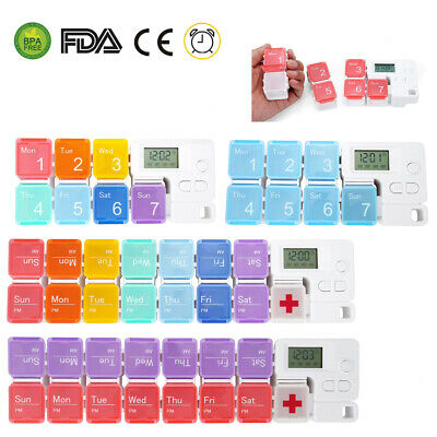 Pill Case Alarm - Daily Weekly Pill Box AM PM Organizer Case Medicine Storage Alarm Time Reminder