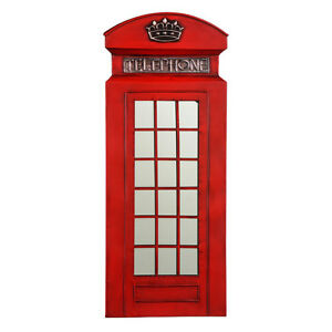 Traditional Metal Telephone Box Wall Mountable Art In Red Mirrored Detail Plaque