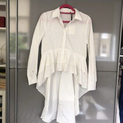 Zara High Low White Shirt New With Tags Size Small Uk 8