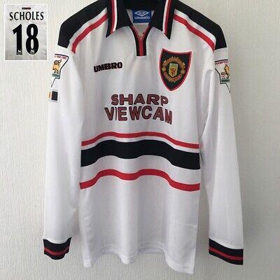 Manchester United Premier League Football Shirt SCHOLES medium 1998 Long Sleeve image