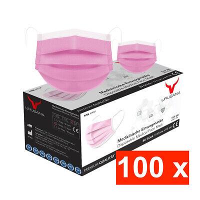 100 Rosa Medizinische OP Maske Typ IIR 2R Mundschutz 3-lagig Einweg Masken Pink