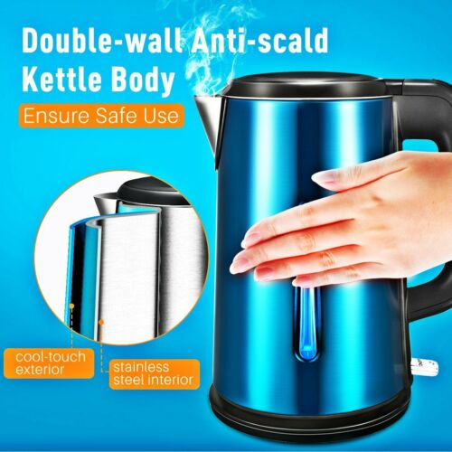electric tea kettle stainless steel double walled